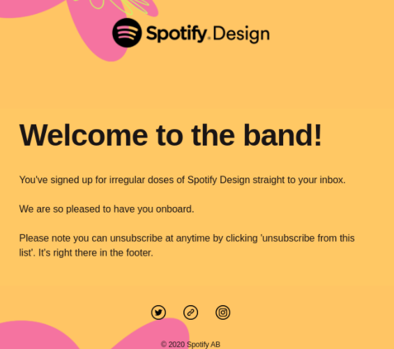 spotify email marketing welcome email example