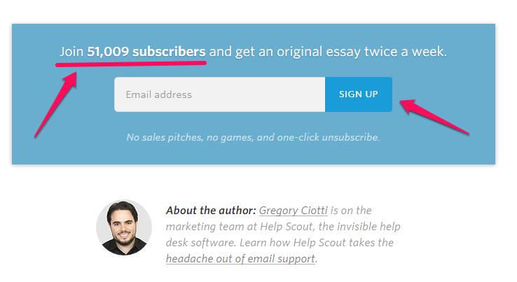subscriber CTA example