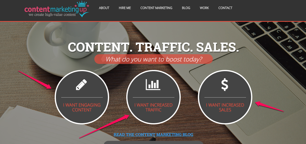 content marketing up example CTA