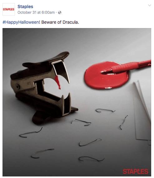 staples halloween content marketing example