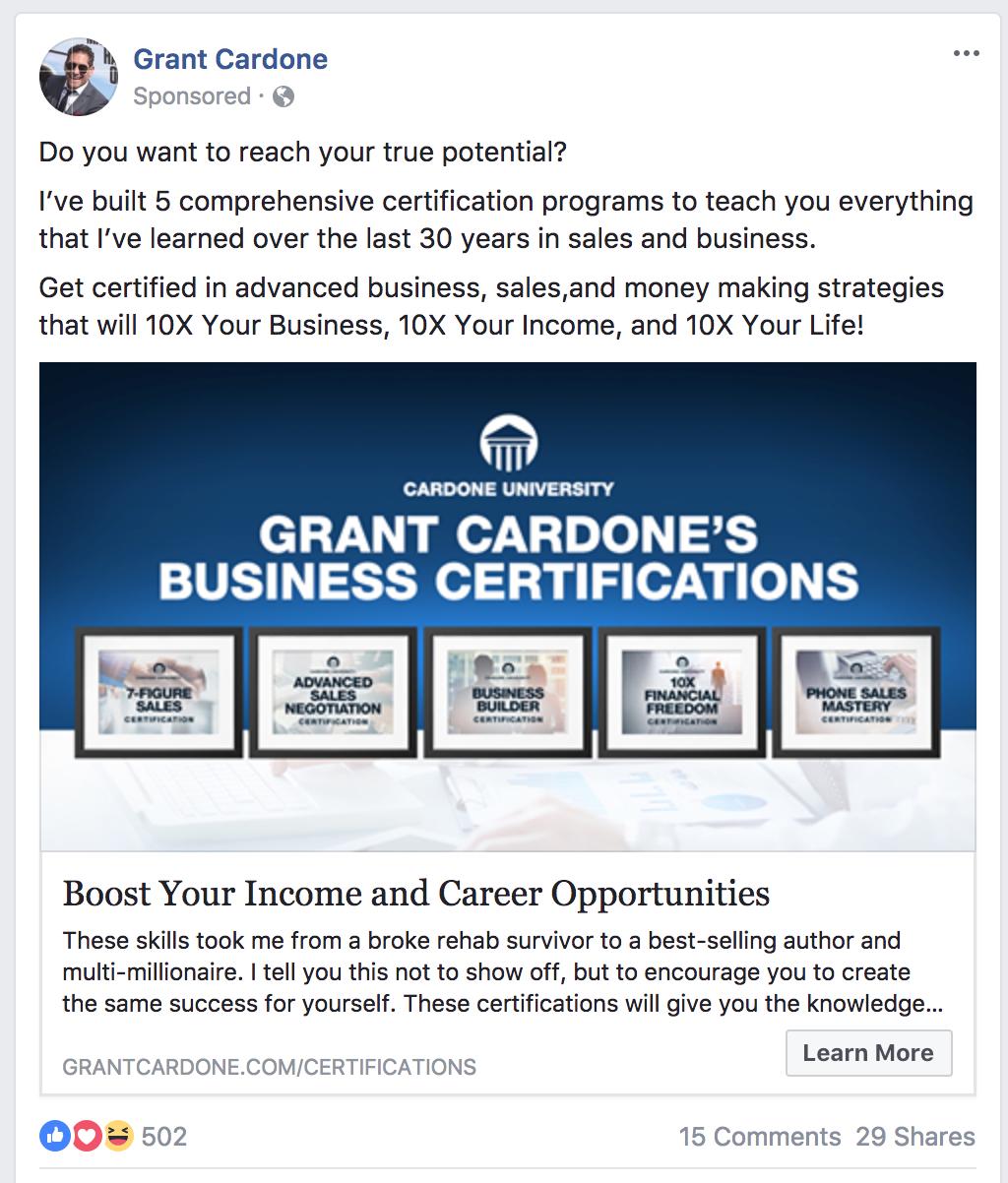 grant cardone ad example
