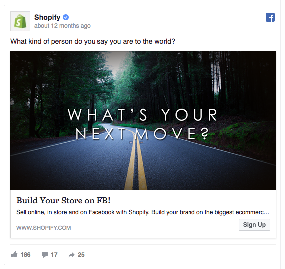 shopify content marketing ad example