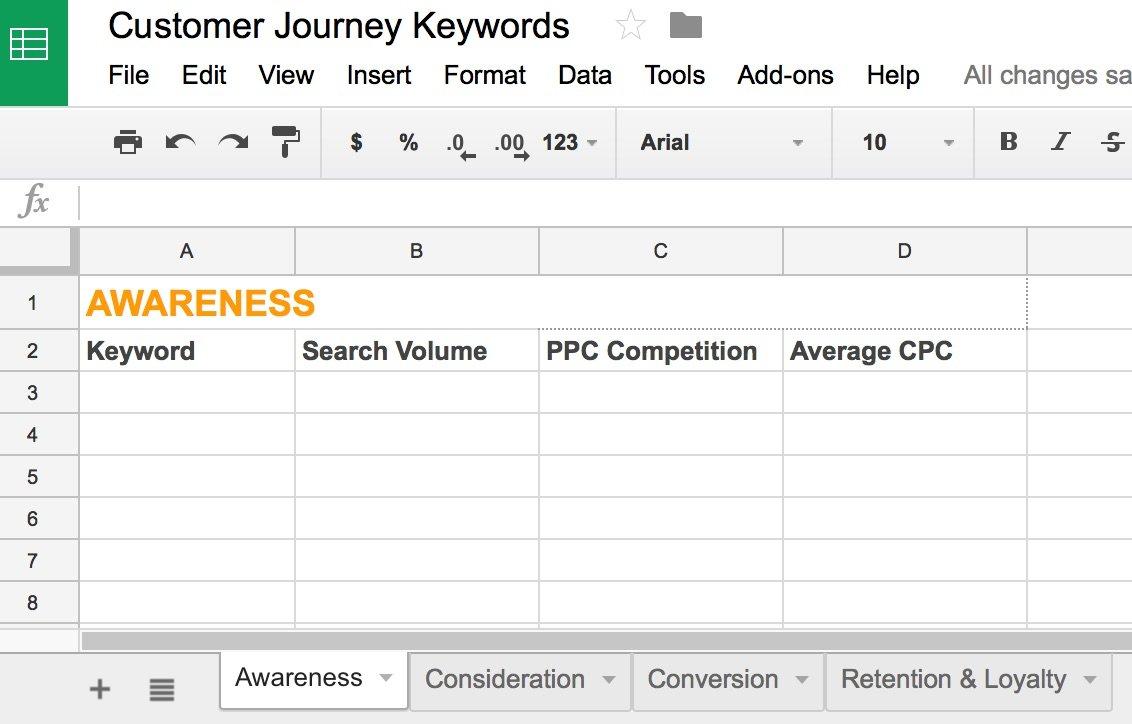 Customer Journey Keywords Google Sheets