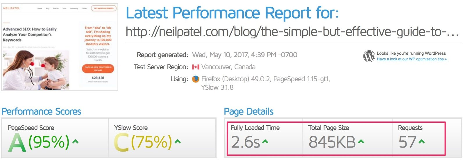 Latest Performance Report for http neilpatel com blog the simple but effective guide to keyword competition analysis GTmetrix